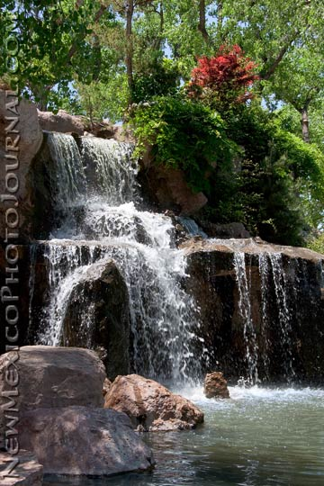 waterfall at sasebo japanese garden, part of the albuquerque biopark