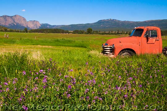a red truck in a field with Los Brazos in the background