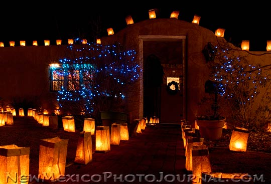 luminarias (farolitos) on Christmas Eve