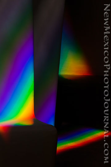 Rainbows created by sunlight coming through one of the 24 prisms at the Dwan Light Sanctuary in Montezuma NM