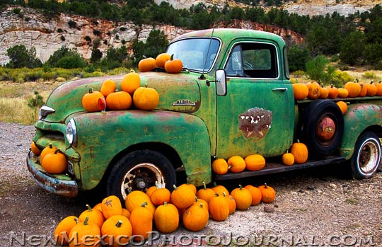old green truck covered with pumpkins