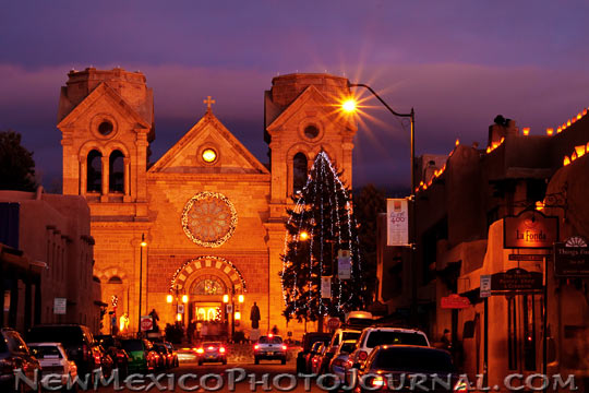 saint francis cathedral at dusk, Christmas Eve 2011