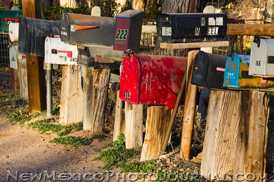 assorted rural mailboxes in Corrales