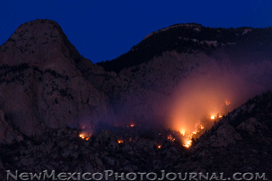 Chimney Fire, high in the Sandia Mountains, October 19, 2012