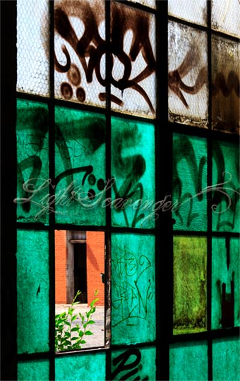 Old windows and graffiti at the Albuquerque Railyard