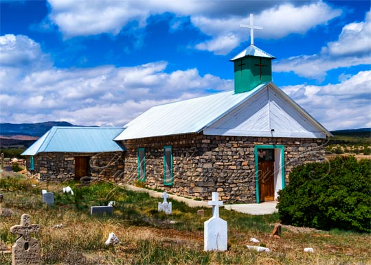 Church and graveyard in Tajique