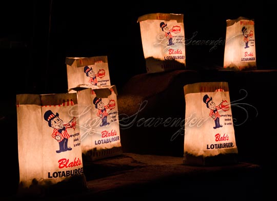 Luminarias made with Blake's Lotaburger bags