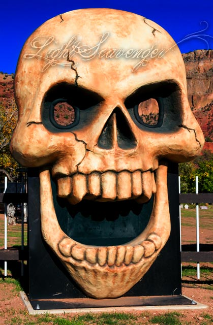 Big Skull greets visitors to the Jemez Graveyard