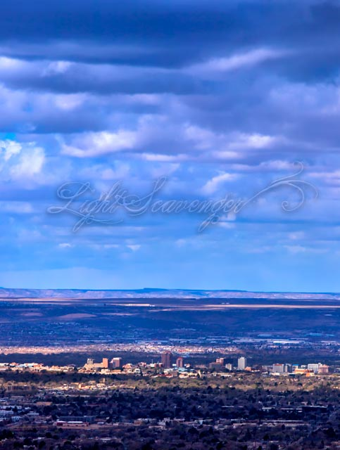 Downtown Albuquerque, seen from the Sandia foothills