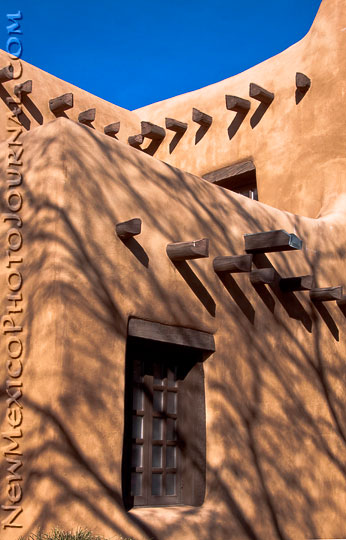 shadows on the side of the New Mexico Museum of Art