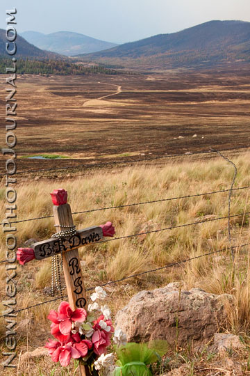 A cross leans against a fence overlooking a burned area of Valle Grande