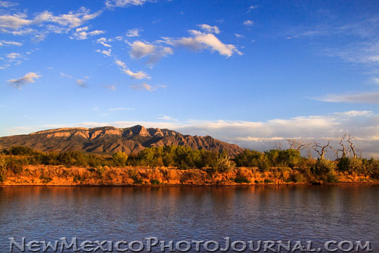 Sandia Mountains with the Rio Grande in the foreground
