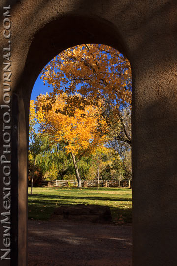 A secret fall garden lies just beyond an arched doorway