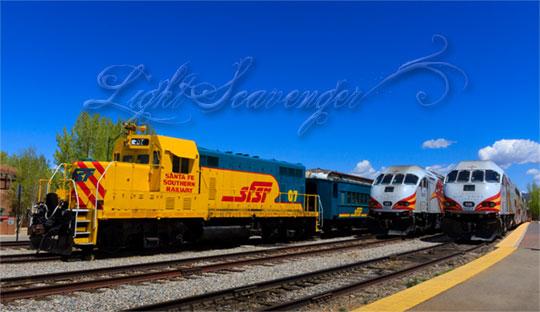 Three trains at the Santa Fe Depot