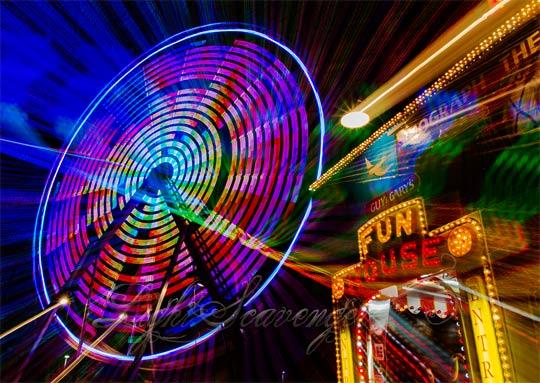 Fun House and Ferris Wheel at the NM State Fair