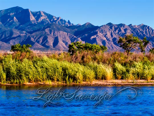 The Rio Grande and Sandia Mountains