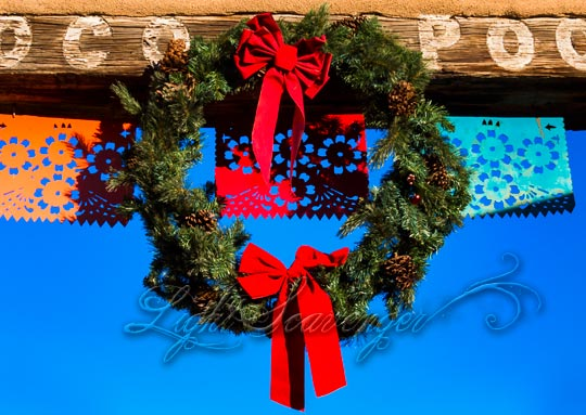 Wreath hanging from a beam in Old Town Albuquerque.