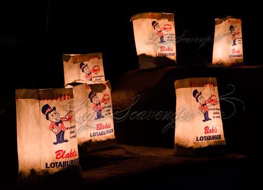 Luminarias made with Blake's Lotaburger bags