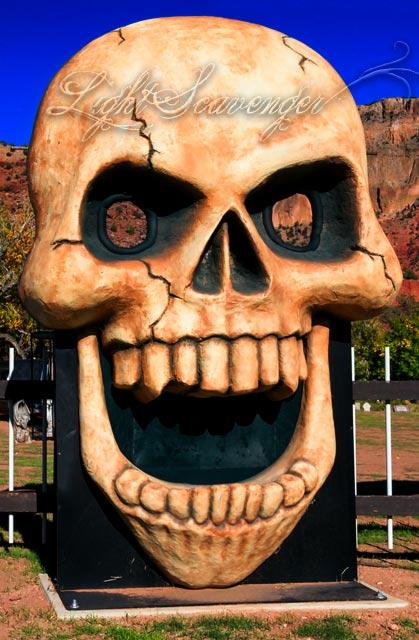 Big Skull greets visitors to the Jemez Graveyard