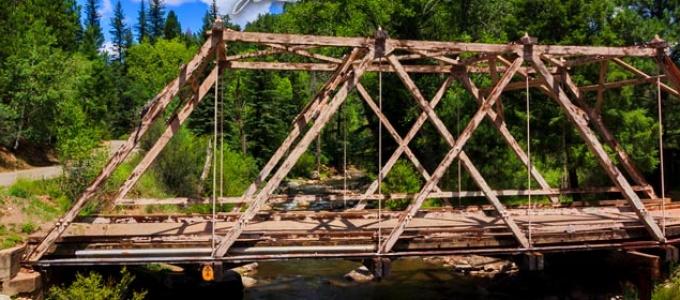 Wooden bridge over the Pecos River at Terrero